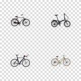 Véhicule réaliste de formation, pour la fille, la bicyclette de concurrence et d'autres éléments de vecteur Images libres de droits