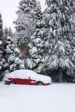 Véhicule rouge couvert dans la neige Image stock