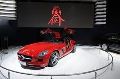 Véhicule rouge de Mercedes-Benz SLS AMG Photos libres de droits