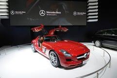 Véhicule rouge de Mercedes-Benz SLS AMG Photographie stock