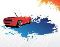 Véhicule rouge et éclaboussure bleue illustration de vecteur