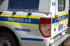 Véhicule sud-africain de la police K-9 Images stock