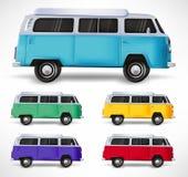 V?hicule Van Different Color Set de d?placement 3D de voiture r?aliste ? l'arri?re-plan blanc d'isolement illustration stock