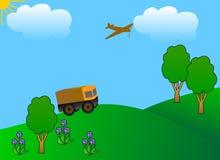 Véhicule, vol d'avion dans un ciel bleu Photos stock