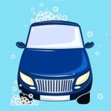 Véhicule washing Bulles et mousse bleues d'automobile Image stock