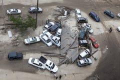 Véhicules écrasés après ouragan Sandy image libre de droits