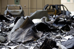 Véhicules brûlés Image libre de droits