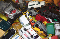 Véhicules de jouet de cru photographie stock