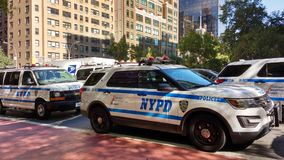 Véhicules de NYPD, NYC, NY, Etats-Unis Images stock
