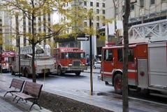 Véhicules de sapeurs-pompiers à Montréal photographie stock libre de droits
