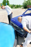 Véhicules des accidents deux Photo libre de droits