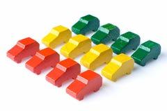 Véhicules en bois colorés Image libre de droits