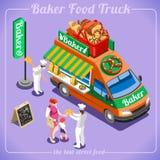 Véhicules isométriques de la boulangerie 3D de camion de nourriture illustration stock