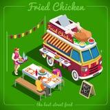 Véhicules isométriques du camion 10 de nourriture illustration stock