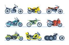 Véhicules moulus Différents types de motos : sports, touriste, classique, tous terrains Photos stock