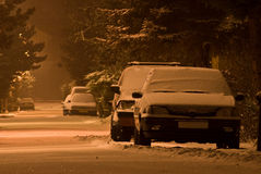 Véhicules sous la neige Photo libre de droits