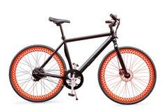 Vélo électrique noir et rouge d'isolement avec le chemin de coupure Photographie stock