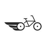 Vélo abstrait noir avec des ailes Images libres de droits