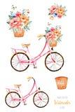 Vélo avec des fleurs dans le panier, bouquet illustration libre de droits