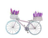Vélo avec des fleurs dans le panier illustration libre de droits