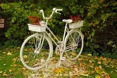 Vélo avec des pots de fleurs photographie stock