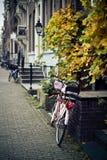 Vélo avec des tulipes Photographie stock libre de droits