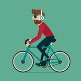 Vélo d'équitation d'homme Caractère de hippie sur la bicyclette illustration stock