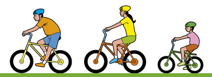 Vélo d'équitation d'homme, de femme et d'enfant Image libre de droits