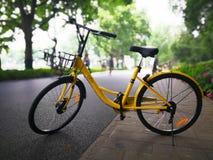 Vélo d'Ofo sur la route Image libre de droits