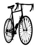 Vélo de montagne de guidon de baisse de silhouette de bicyclette Photographie stock