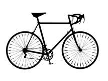Vélo de montagne de guidon de baisse de silhouette de bicyclette Photographie stock libre de droits