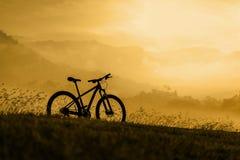 Vélo de montagne de silhouette au coucher du soleil Images stock
