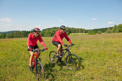 Vélo de montagne folâtre d'équitation de couples dans le pré Images libres de droits
