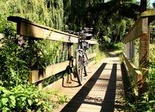 Vélo de montagne sur une passerelle de pied Image libre de droits