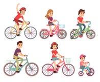 Vélo de monte de personnes Cycliste plat sur l'ensemble de vecteur de bicyclettes illustration de vecteur