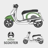 Vélo de scooter avec le casque Photo stock