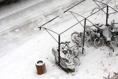 Vélo de tempête de neige Photo libre de droits