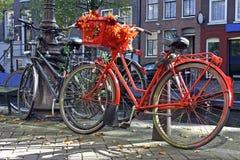 Vélo orange hollandais Photos stock