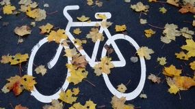 Vélo peint en automne Photo stock