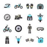 Vélo Rider Flat Icons Set Photo stock