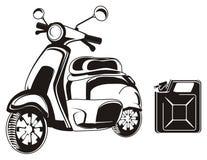 Vélomoteur et boîte métallique illustration libre de droits