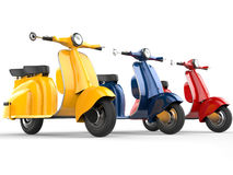 Vélomoteurs colorés de vintage illustration libre de droits