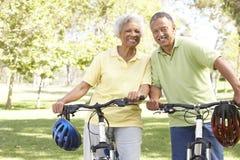 Vélos aînés d'équitation de couples en stationnement Photographie stock