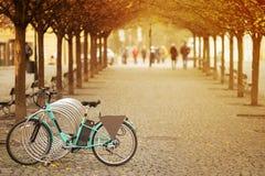 vélos sur un boulevard à un centre de Prague Image libre de droits