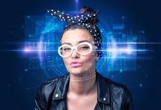 Vérification biométrique - détection de visage de femme photos stock