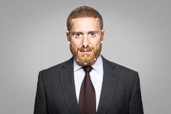 Vérification biométrique - reconnaissance des visages d'homme d'affaires image stock