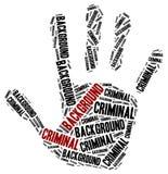 Vérification des antécédents criminelle Illustration de nuage de Word Photos stock