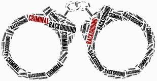 Vérification des antécédents criminelle Illustration de nuage de Word Image libre de droits