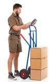 Vérification du statut de la livraison Images stock