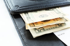 Vérifiez avec l'argent liquide Photographie stock